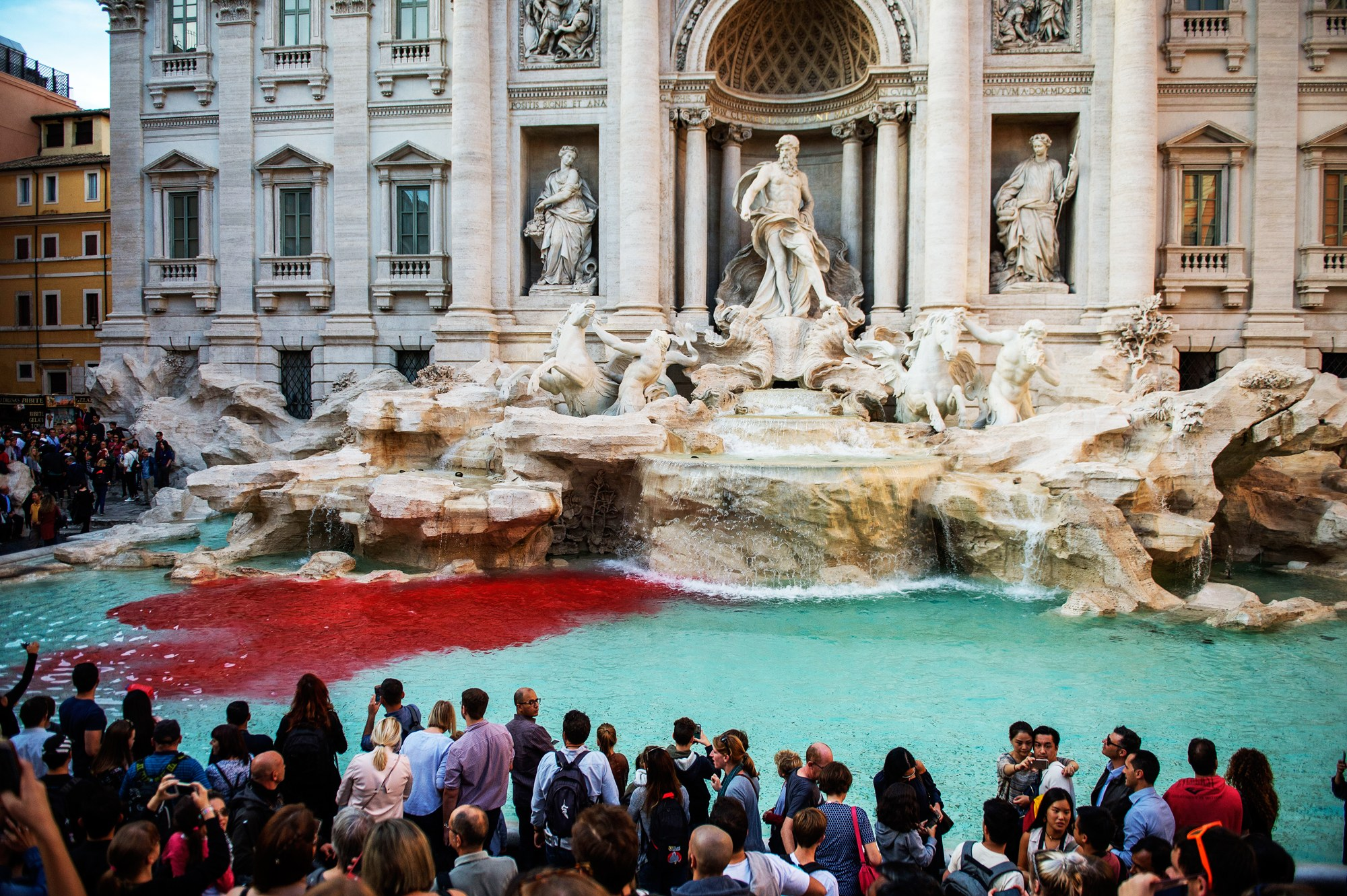 Trevi Fountain Turns Red Once Again