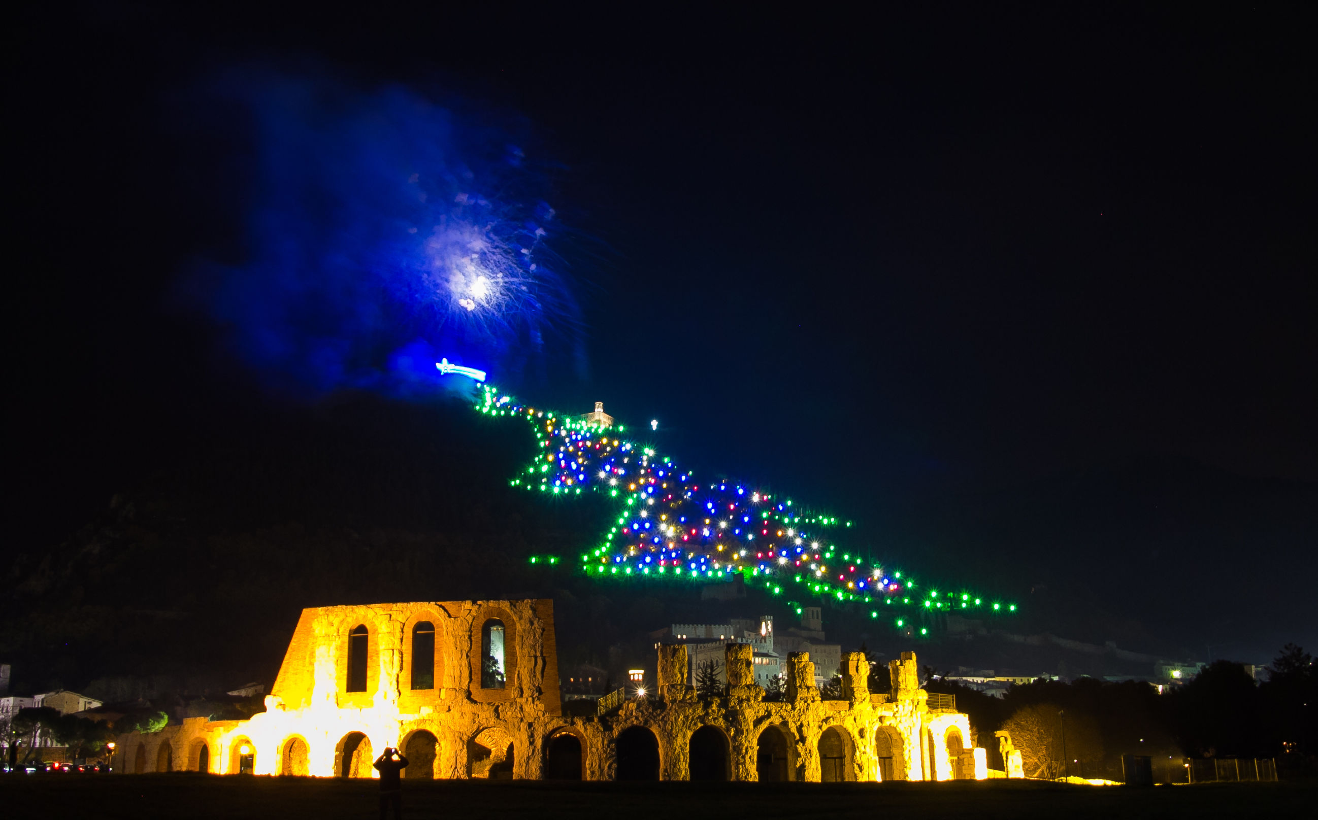 christmas tree of Gubbio city in Umbria