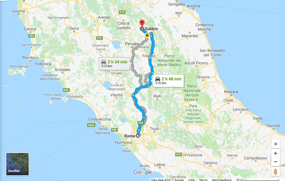 Rome to Gubbio