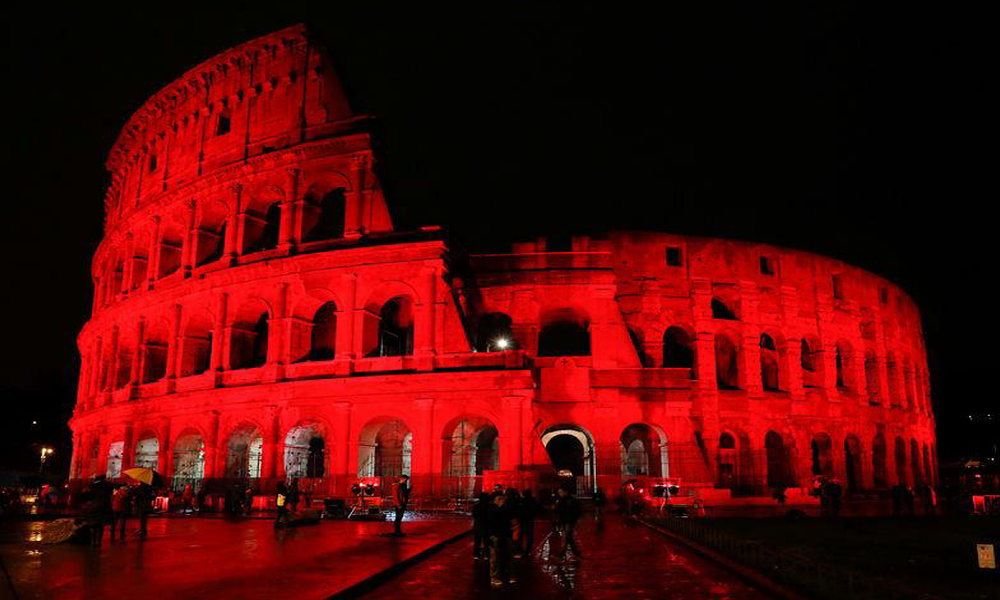 Rome's Colosseum Glows Red
