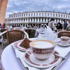 Cup of coffee cappucinno drink in outdoor restaurant