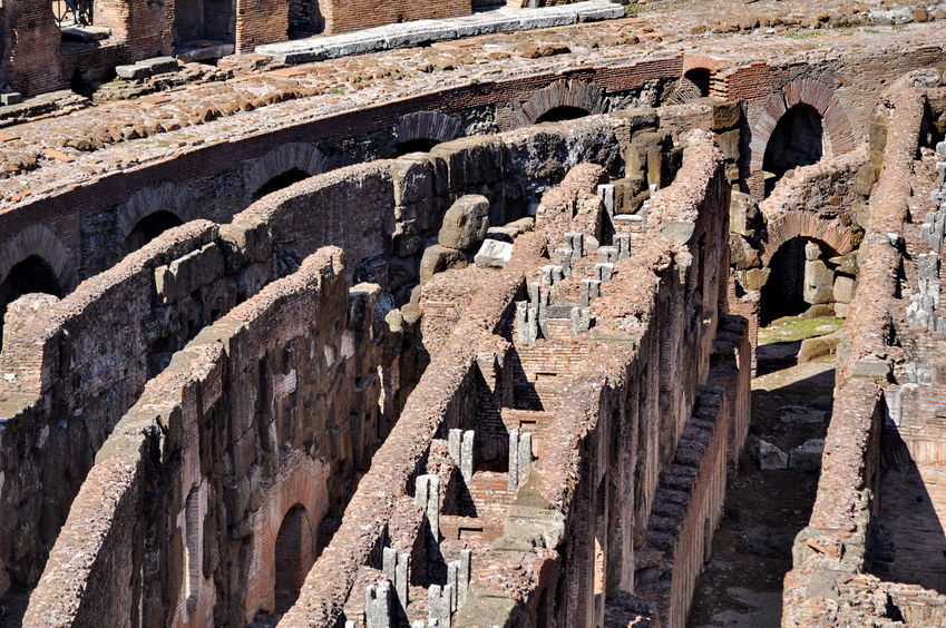 Arena Floor of colosseum in rome, italy