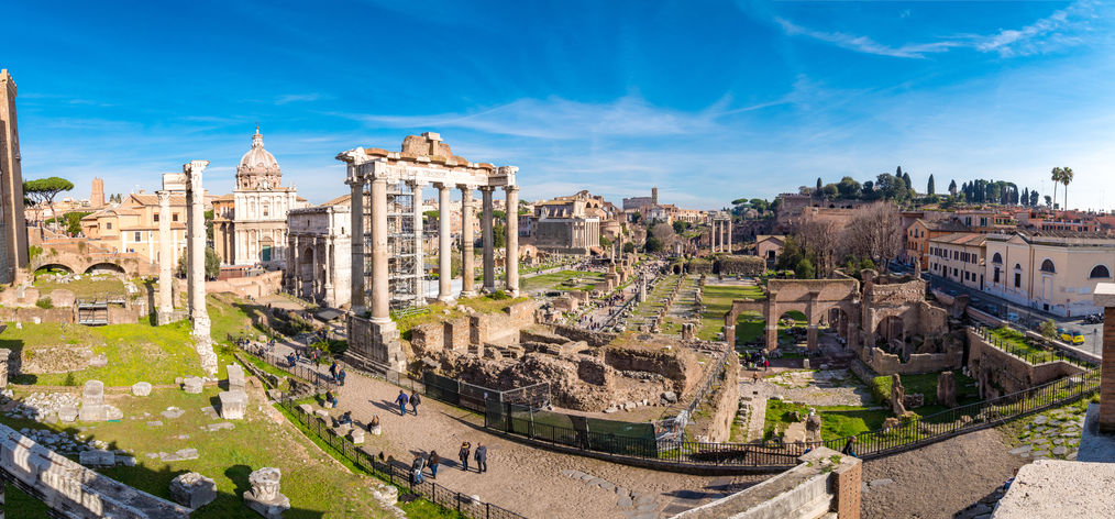view of the Colosseum and Roman forum