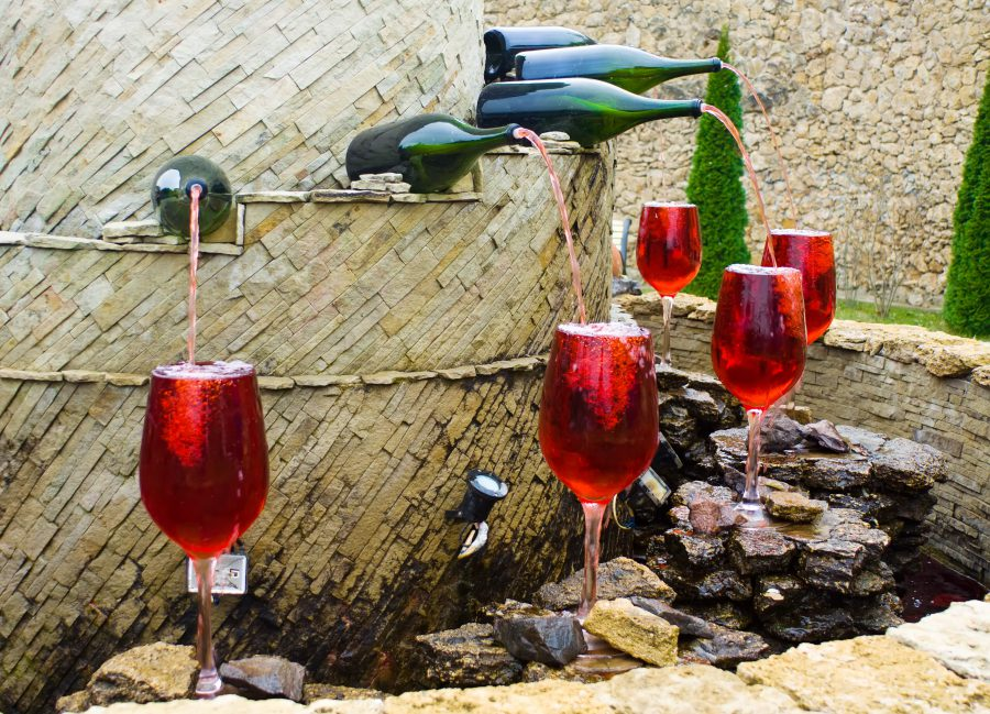A fountain that gives red wine in Italy