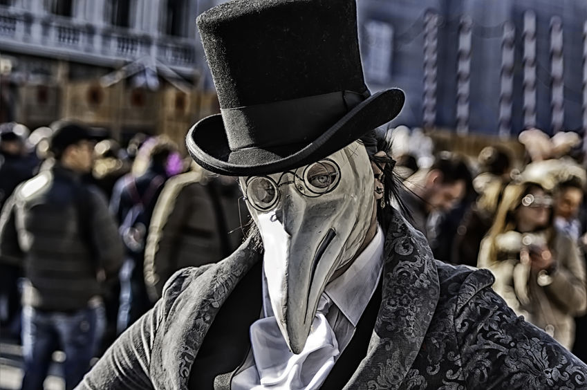 plague doctor mask in Venice Carnival