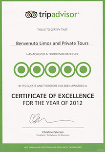 Trip Advisor 2012 Certificate of Excellence