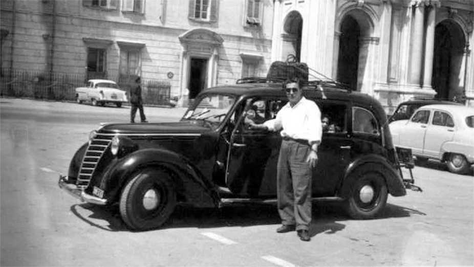 "My grandad Giovanni in Pompeii with his ""Giuseppina"" (Fiat 1100)"