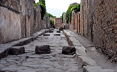 A paved street in Pompeii