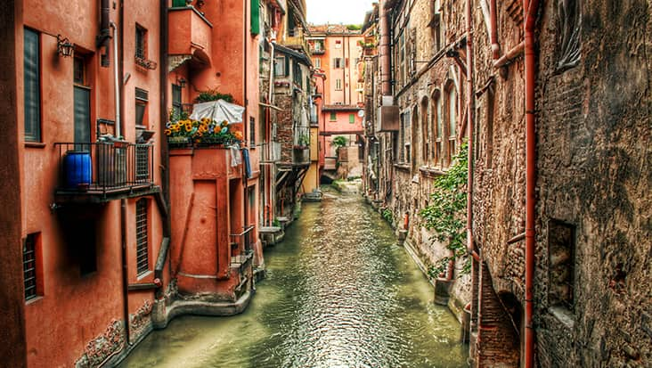 A typical view of a small channel in Bologna