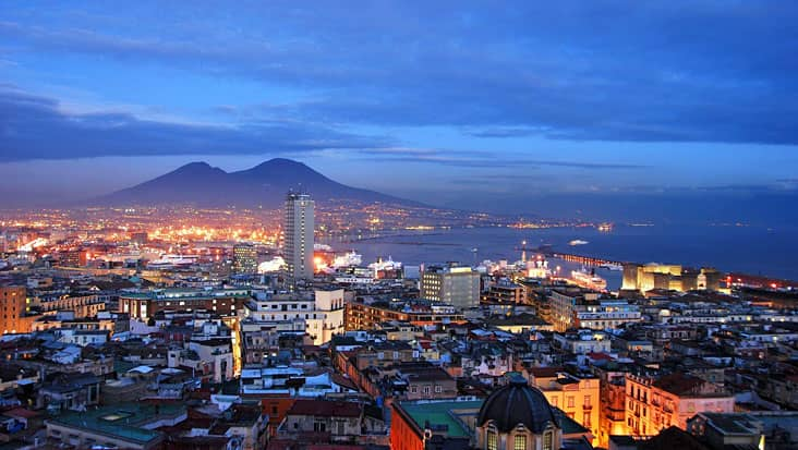 A view of Naples by night