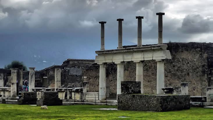 The forum of Pompeii in a surreal misty afternoon