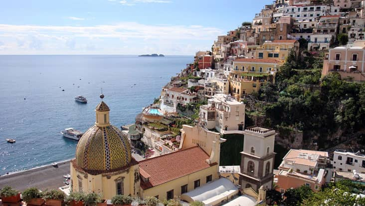 Partial view of the beach and town of Positano