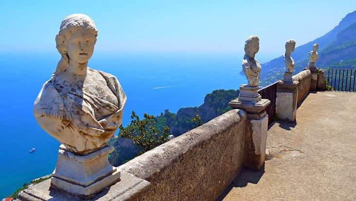 View of the Amalfi Coast from the Terrace of the Infinite, Villa Cimbrone, in Ravello