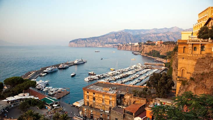 A view of Sorrento and the towns nearby