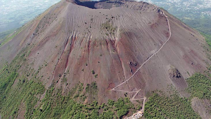 An aerial view of the volcano
